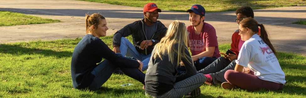 3 psych students and class outside 2107 copy